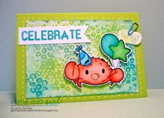 Lenny Sacreas using Party Crab #digi stamp from Some Odd Girl stamps. #digitalstamp #crab #critter #party www.someoddgirl.com