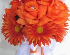 "10 pieces Wedding Bouquet Bridal Silk flower Decoration Package ORANGE DAISY WHITE Free shipping centerpieces ""Roses and Dreams"""