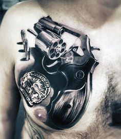 Mens Upper Chest Bullet Tattoo With Revolver Design Realistic Est Tattoos, Pin Up Tattoos, Life Tattoos, Tattoos For Guys, Cool Tattoos, Ship Tattoos, Small Tattoos, Gangster Tattoos, Home Tattoo