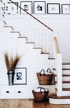 For entry or living room. Shiplap part way up with a ledge for picture frames.