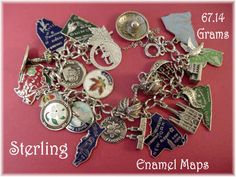 STATE Enamel Maps  26 Charms  Sterling Silver by FindMeTreasures