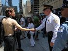 Chicago police Superintendent Garry McCarthy greets an Occupy protester from Scranton, Pa., at Daley Plaza. Occupy protesters from across the country flooded the city during the 2012 NATO summit.