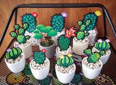 Sweet garden idea by pxlprincess cactus hama hamabeads garden summer garden Perler Bead Designs, Hama Beads Design, Diy Perler Beads, Hama Beads Patterns, Perler Bead Art, Pearler Beads, Beading Patterns, Loom Patterns, Bracelet Patterns