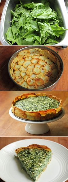Easter Brunch Idea: Spinach and spring herb torta in a Potato crust  #brunch