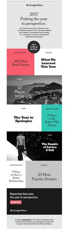 The NYTimes: There's nothing not to love about this gridded, clear, tappable design. The Great Discontent, Email Design Inspiration, Design Ideas, Birthday Email, Best Email, Email Newsletters, Email Campaign, Email Templates, Custom Fonts
