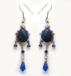 Something Blue?    Blue Sodalite Dangle Drop Earrings Swarovski Crystal Victorian Costume Jewelry. €36.75, via Etsy.