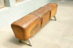 Another example of a vintage pommel horse re-purposed as a bench (with exceptionally beautiful leather), via 1stdibs.