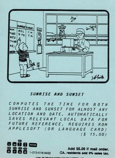 Postcard ad for Sunrise and Sunset program (1981). Telephone, Sunrise, Connection, Software, Ads, Phone, Sunrises
