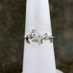 Raw Uncut Rough Diamond Solitaire and 925 Sterling Silver Twig Ring - Rough Diamond Engagement Ring - Promise Ring - Raw Gemstone Ring. $275.00, via Etsy.