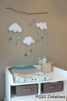 Changing table space in shades of blue and brown. Baby Bedroom, Baby Room Decor, Kids Bedroom, Nursery Decor, Baby Couture, Baby Crafts, Baby Sewing, Boy Room, Diy For Kids