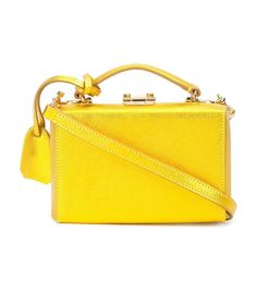 Yellow mini box bag featuring a metallic gold effect. ShopBazaar, shop designer clothing, shoes and accessories selected exclusively by the editors at Harper's Bazaar.