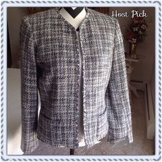 Evan-Picone Jacket Beautiful multi-colored tweed jacket in shades of gray with subtle pink and lavender woven throughout. Fully lined and perfect for the office or your casual jeans. 3 Hook-and-eye fasteners, 2 front pockets. Dry clean.  Trades  Holds Evan Picone Jackets & Coats