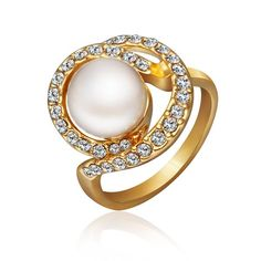 Trendy Platinum Plated Round White pearl Ring for Women GPR148 0