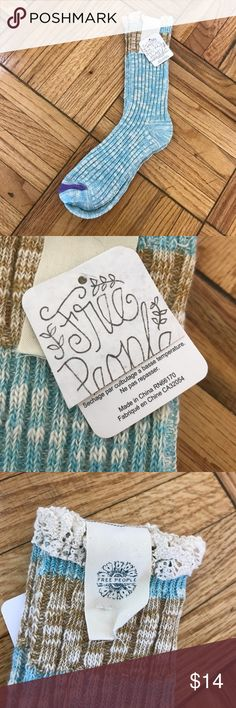 NWT Free People Cozy Blue & Cream Lace Knit Socks NWT Free People Cozy Blue and Cream Knit Lace Socks. Lace top detailing perfect for pairing with mid calf boots for fall or to keep feet warm around the house! Free People Accessories Hosiery & Socks