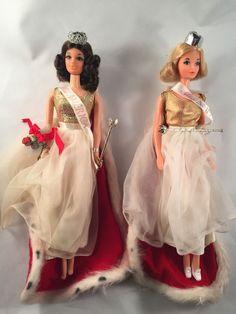 Vintage Brunette and Blond Miss America Walk Lively Barbie Doll Set Sash Cape   eBay