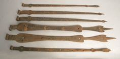 1177: Three pair of wrought iron strap hinges, 30 1/2'' : Lot 1177