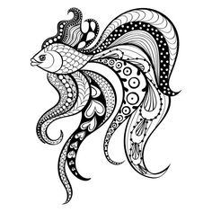 Zentangle vector Gold Fish for tattoo in boho, hipster style. Ornamental tribal patterned illustration for adult anti stress coloring pages. Doodle Art Drawing, Zentangle Drawings, Mandala Drawing, Zentangle Patterns, Art Drawings Sketches, Zentangles, How To Zentangle, Fish Zentangle, Doodle Doodle