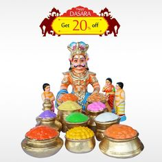 Buy authentic #GhatotkachaSet  made with finest quality paper mesh, organic clay & natural colors this #Dasara . Get 20% off on #DasaraDolls . Hurry up! Limited offer!  #BringHomeFestival