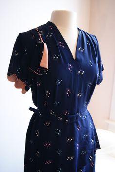40s Rayon Dress // Vintage 1940s Navy Blue Rayon Dress with Cocktail Glasses Novelty Print Size XL. $198.00, via Etsy.