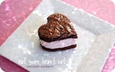 Heart shaped Ice cream sandwich