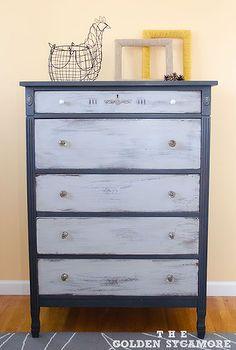 graphite and paris grey dresser, chalk paint, painted furniture, After ASCP Graphite and Paris Grey