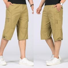 34b0b155d2 Summer Plus Size Men's Baggy Multi Pocket Military Zipper Cargo Short Hot  breeches Male Long Army