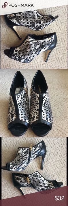 Calvin Klein Peep Toe Booties Never worn, peep toe booties. Calvin Klein Shoes Ankle Boots & Booties