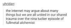 FMA - United trauma over Nina Tucker episode