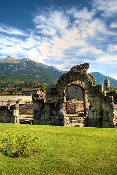 Roman Theatre Zone of Aosta, Valle d'Aosta, Italy