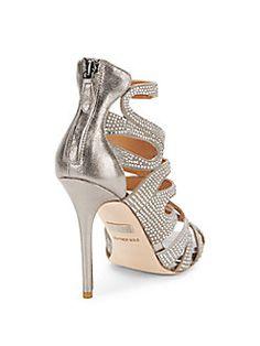 Taylar Rhinestone-Embellished Leather Sandals
