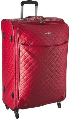 Guess Red Travel Luggage Suitcase Rolling Mano Viajan Equipaje Rojo Paris London #GUESS Luggage Suitcase, Travel Luggage, Backpacks, London, Paris, People, Red, Ebay, Black