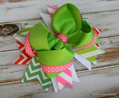 Chevron hair bow headband Girls hair bows Boutique hair bows Pink Green Chevron Polka dot Stacked hair bows for girls baby toddlers on Etsy, $11.99