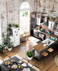 Converted warehouse makes for a stunning loft apartment. Exposed brick walls are… Converted warehouse makes for a stunning loft apartment. Exposed brick walls are soften with loads of indoor plants and timber furniture. Living Room Interior, Home Interior Design, Interior Architecture, Living Rooms, Interior Ideas, Architecture Today, Kitchen Interior, City Living, Interior Livingroom