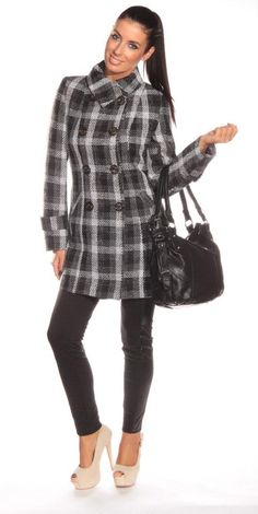 square patterned coat #shinefashion