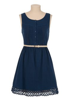 Belted Lace Trim Tank Dress available at #Maurices - nice color, belt, like lace trim and can wear a normal bra - check length