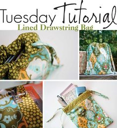 Gaveposer, skoposer etc.The Creative Place: Tuesday Tutorial: Drawstring Bag Fabric Bags, Fabric Scraps, Buy Fabric, Sewing Projects For Beginners, Sewing Tutorials, Knitting Projects, Sewing Patterns Free, Free Sewing, Drawstring Bag Tutorials