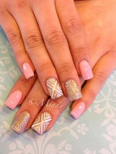 Pink nails design with glitter nails