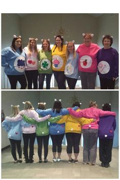No sew Care Bears costumes using sweat shirts, felt, and glue!