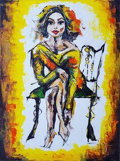 "Ramune Art. ""Pretty Women""canvas60x80acrylic #body #ellegant #pretty #yellow #faces #artist #painting #webnartclub #contemporary #contemporaryart #interiør #womenstyle #beautyandthebeast #womenbeauty #interiordesign #interiors #homedeco #ramune_art #alexanderschwarzart #ichliebees  #kunstliebe #kunst #instacool #instaart #artistsoninstagram #abstractartist #abstraktekunst #artworks_portrait"