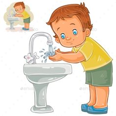 Buy Boy Washes His Hands with Water by vectorpocket on GraphicRiver. Vector illustration of a little boy washes his hands with water from a tap.
