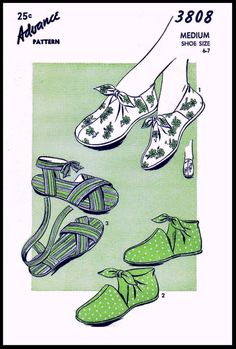 Women's Vintage Advance Slippers Tie On Shoes Fabric Material Sewing Pattern Size Reprint / Copy Mccalls Patterns, Vintage Sewing Patterns, Sewing Ideas, Sewing Projects, Motif Vintage, Vintage Style, Vintage Fashion, Craft Materials, On Shoes