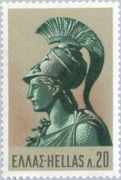 Greece Athena Warrior of Century stamp 1968 MNH Athena Goddess, Postage Stamp Art, Greek Art, Stamp Collecting, Ancient Greece, Mythology, Poster, Celestial, Wall Art