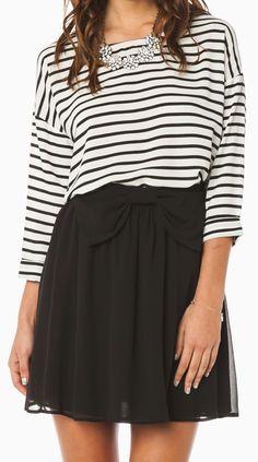stripes + bow skirt.