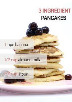 Vegan banana pancakes with only three ingredients. #vegan #breakfast #pancakes