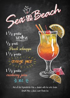Sex on the Beach Vintage Posters Poster Print Beach Drinks, Fancy Drinks, Summer Drinks, Summer Drink Recipes, Liquor Drinks, Cocktail Drinks, Beverages, Easy Alcoholic Drinks, Easy Vodka Cocktails