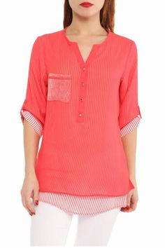 Look chic at any day of the week in this double layer top Featuring dreamy sheer coral fabric top layer with striped soft fabric underneath V-neckline with button front three-quarter roll-up sleeves small side slits on top layer and hi-low hem. Sizes are European: Size: 36(XS-S) 38(S) 40(M) 42 (L)  Double Layer Top by esmaelite. Clothing - Tops - Short Sleeve San Francisco