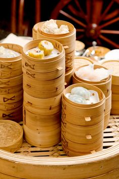 This is Dim-Sum.  You can go out for Dim Sum with other people, and it is a very social eating experience.  Dim Sum is cooked in traditional Chinese bamboo steamers.