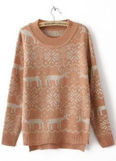 Pink Long Sleeve Deer Print Asymmetrical Sweater