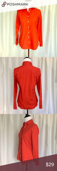 """J. Crew // Stretch Perfect Shirt Button Down EUC! Perfect for work or the weekend. Fitted classic cotton button down with a hint of spandex. Functional buttons on cuffs.  Vibrant red-orange color. No stains or imperfections. Approx 25"""" shoulder to hem, 18"""" across chest. From regular J. Crew, not factory. 🚫trades🚫 smoke free home J. Crew Tops Button Down Shirts"""