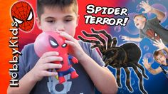 SPIDER ATTACK! Spiderman Toy Hunt + Punch Balloon and Bubbles HobbyKidsTV Superhero Shows, Punch, Spiderman, Balloons, Bubbles, Toy, Youtube, Spider Man, Globes